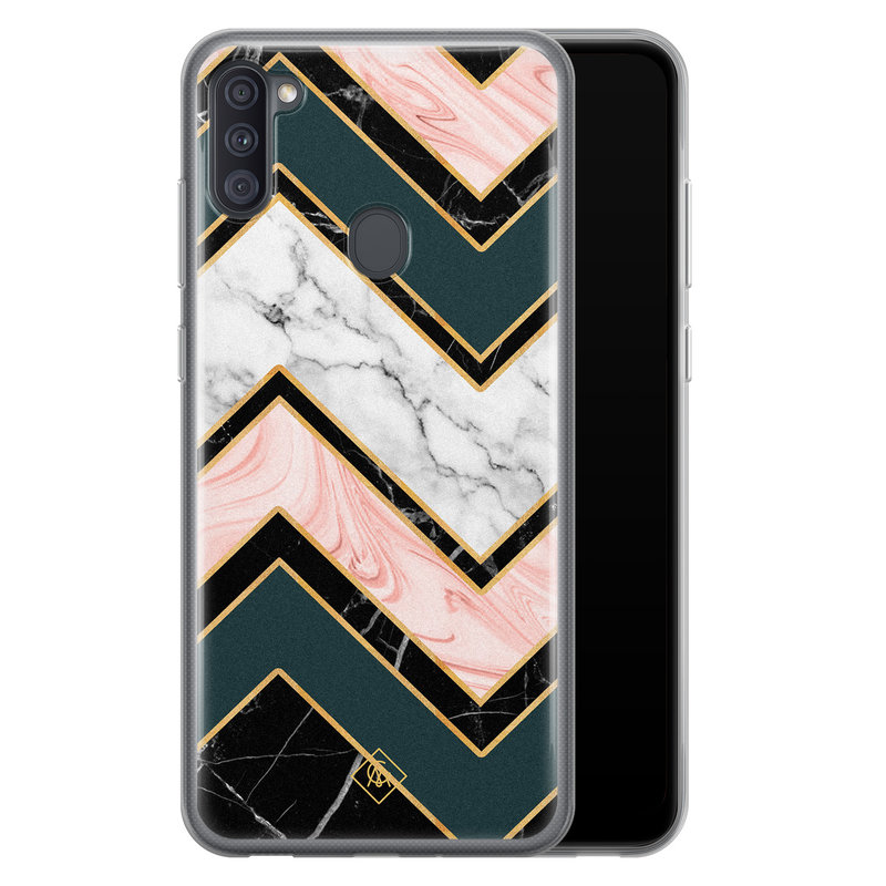 Casimoda Samsung Galaxy A11 siliconen hoesje - Marmer triangles