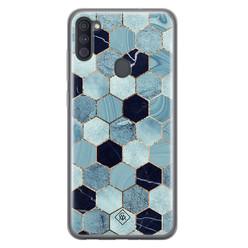 Casimoda Samsung Galaxy A11 siliconen hoesje - Blue cubes