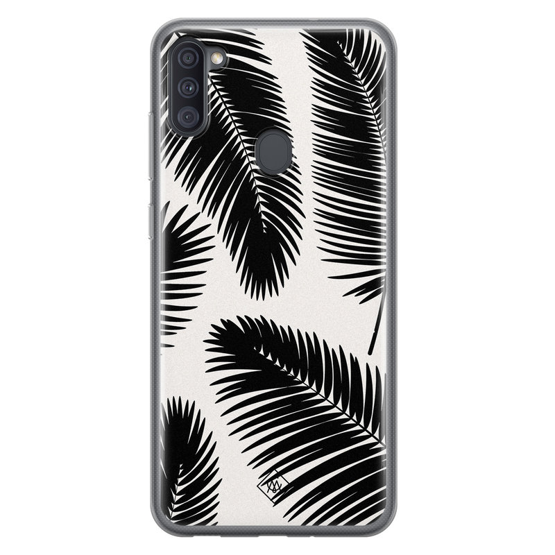 Casimoda Samsung Galaxy A11 siliconen telefoonhoesje - Palm leaves silhouette