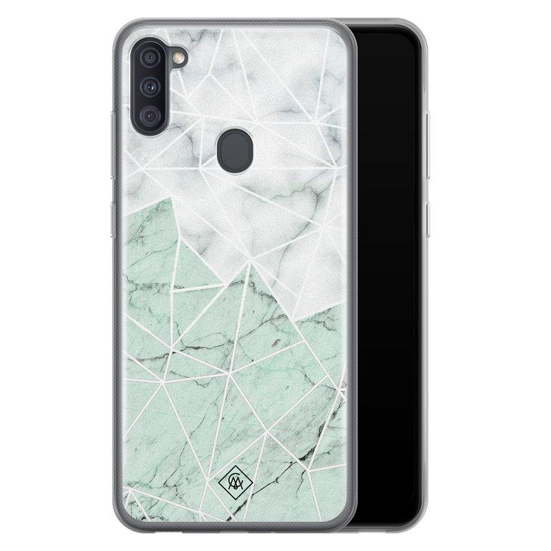 Casimoda Samsung Galaxy A11 siliconen telefoonhoesje - Marmer mint mix