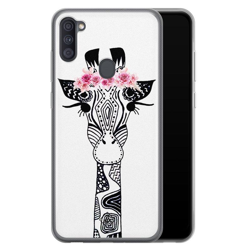 Casimoda Samsung Galaxy A11 siliconen telefoonhoesje - Giraffe