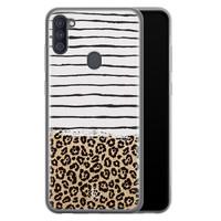 Casimoda Samsung Galaxy A11 siliconen telefoonhoesje - Leopard lines
