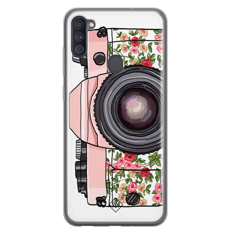Casimoda Samsung Galaxy A11 siliconen telefoonhoesje - Hippie camera