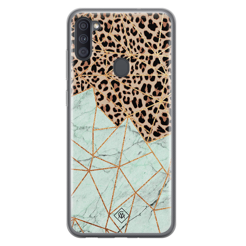 Casimoda Samsung Galaxy A11 siliconen hoesje - Luipaard marmer mint