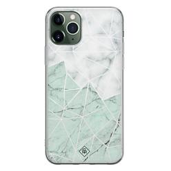 Casimoda iPhone 11 Pro siliconen hoesje - Marmer mint mix
