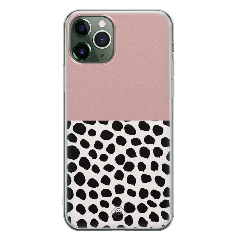Casimoda iPhone 11 Pro siliconen hoesje - Pink dots