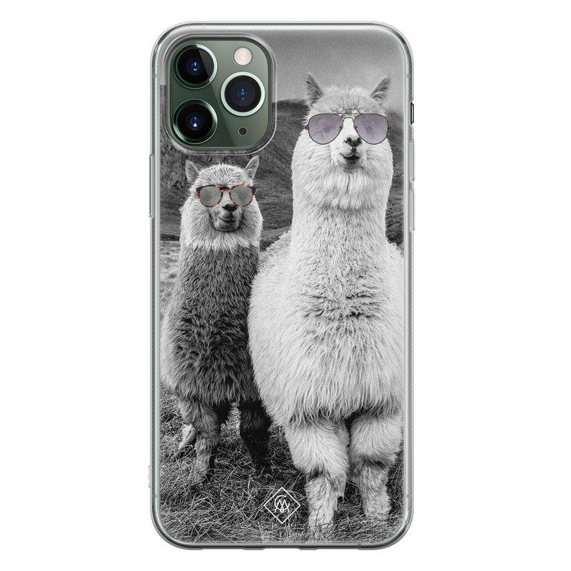 Casimoda iPhone 11 Pro siliconen telefoonhoesje - Llama hipster