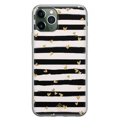 Casimoda iPhone 11 Pro siliconen hoesje - Hart streepjes