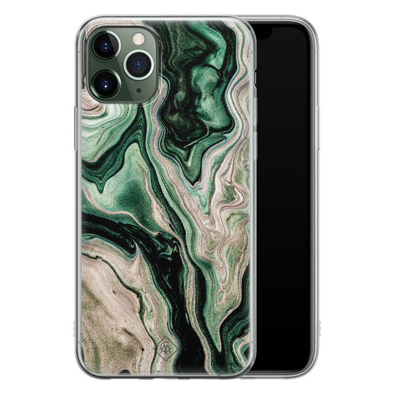 Casimoda iPhone 11 Pro siliconen hoesje - Green waves