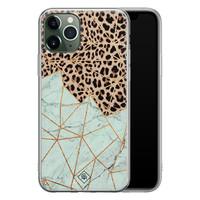 Casimoda iPhone 11 Pro siliconen hoesje - Luipaard marmer mint