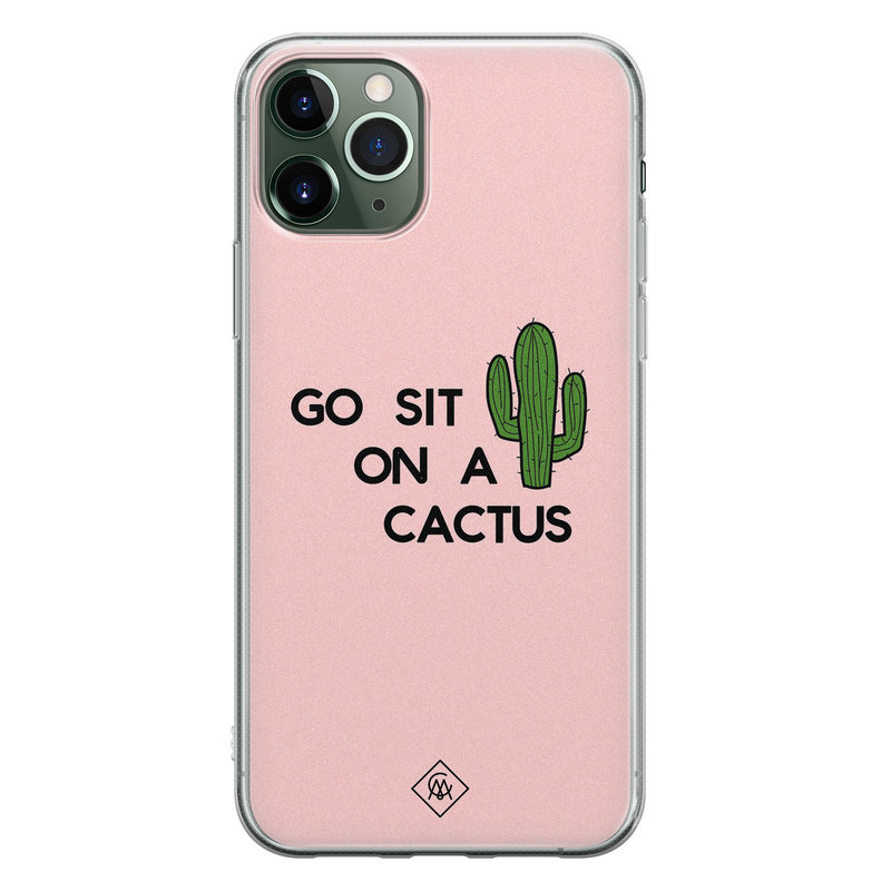 Casimoda iPhone 11 Pro siliconen hoesje - Go sit on a cactus