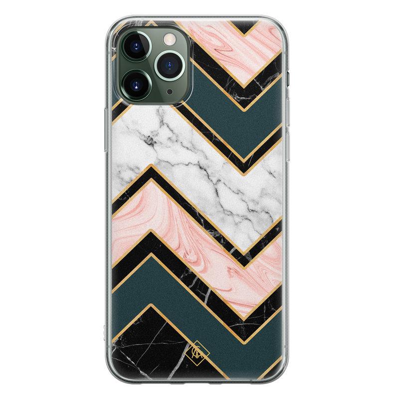 Casimoda iPhone 11 Pro siliconen hoesje - Marmer triangles