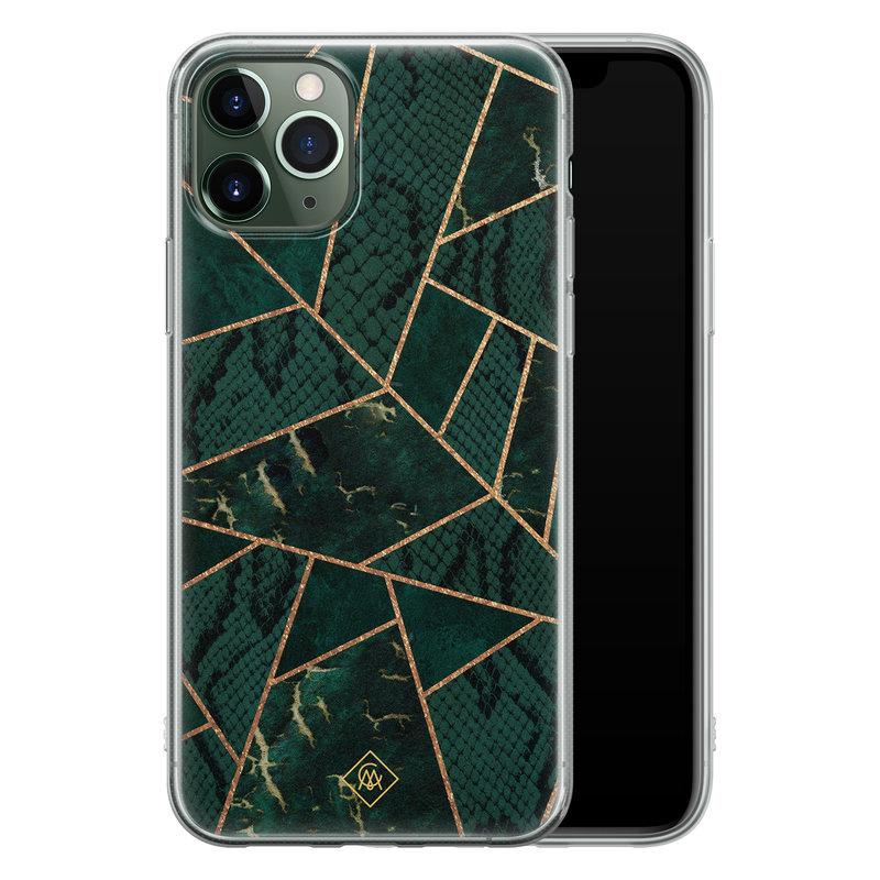 Casimoda iPhone 11 Pro siliconen hoesje - Abstract groen