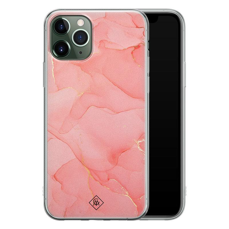 Casimoda iPhone 11 Pro siliconen hoesje - Marmer roze