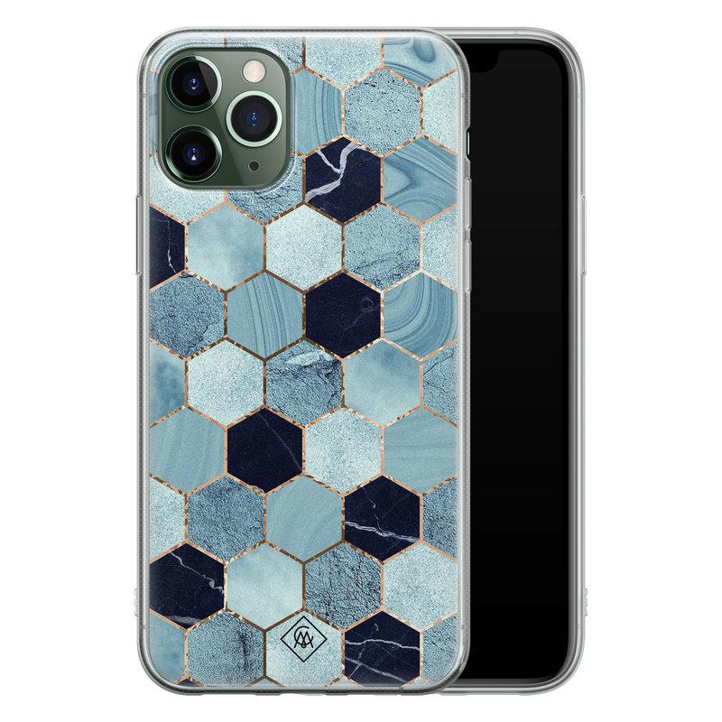 Casimoda iPhone 11 Pro Max siliconen hoesje - Blue cubes