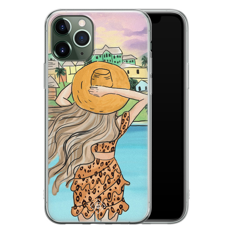 Casimoda iPhone 11 Pro Max siliconen hoesje - Sunset girl
