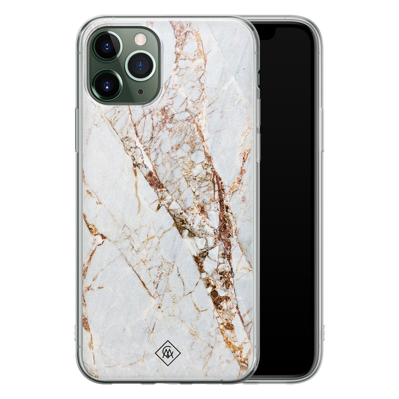 Casimoda iPhone 11 Pro Max siliconen hoesje - Marmer goud