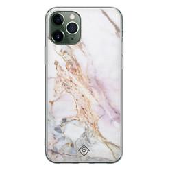 Casimoda iPhone 11 Pro Max siliconen hoesje - Parelmoer marmer