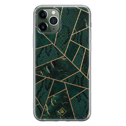 Casimoda iPhone 11 Pro Max siliconen hoesje - Abstract groen
