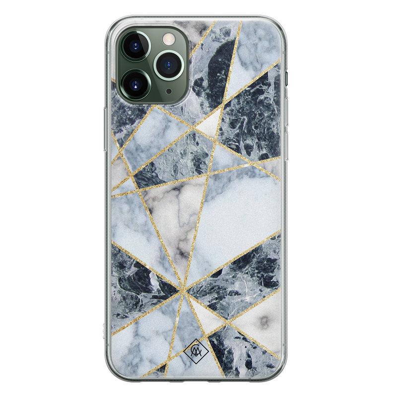 Casimoda iPhone 11 Pro Max siliconen hoesje - Marmer blauw