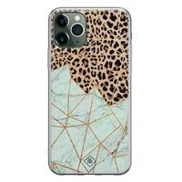 Casimoda iPhone 11 Pro Max siliconen hoesje - Luipaard marmer mint