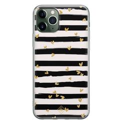 Casimoda iPhone 11 Pro Max siliconen hoesje - Hart streepjes
