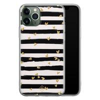 Casimoda iPhone 11 Pro Max siliconen telefoonhoesje - Hart streepjes