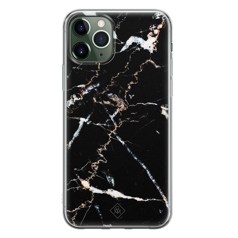 Casimoda iPhone 11 Pro Max siliconen hoesje - Marmer zwart
