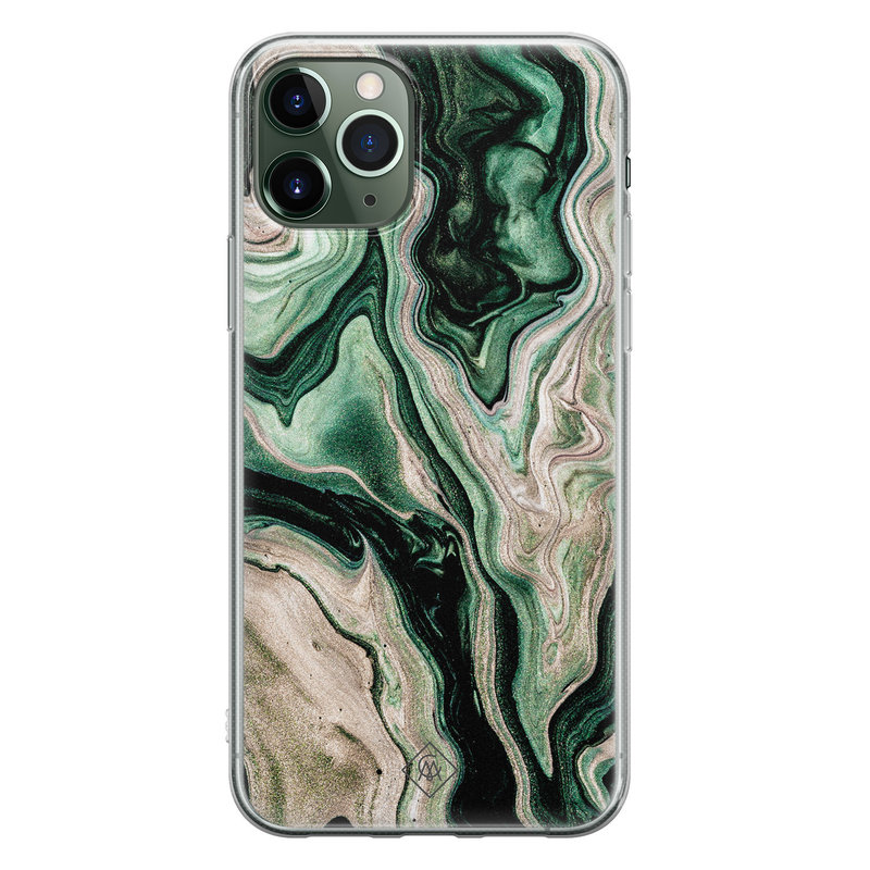 Casimoda iPhone 11 Pro Max siliconen hoesje - Green waves