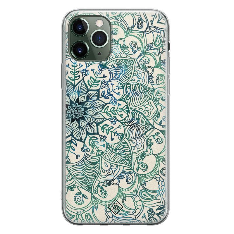 Casimoda iPhone 11 Pro Max siliconen hoesje - Mandala blauw