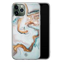 Casimoda iPhone 11 Pro Max siliconen hoesje - Marmer blauw goud
