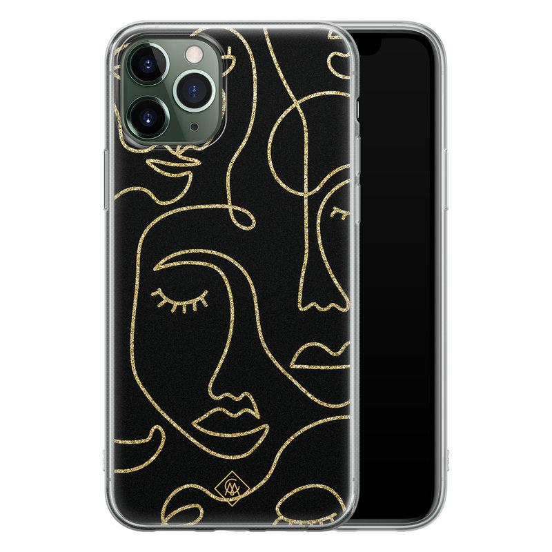Casimoda iPhone 11 Pro Max siliconen hoesje - Abstract faces
