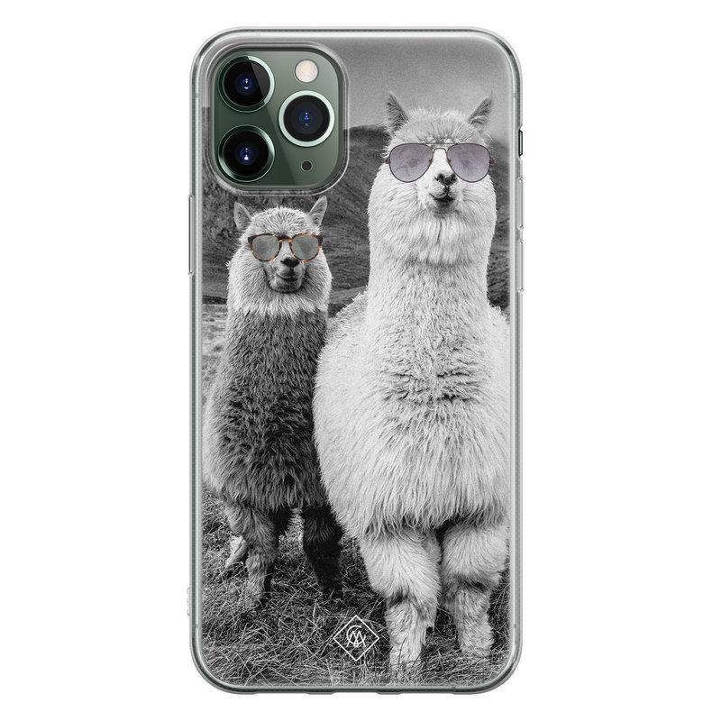 Casimoda iPhone 11 Pro Max siliconen telefoonhoesje - Llama hipster