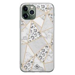 Casimoda iPhone 11 Pro Max siliconen hoesje - Stone & leopard print