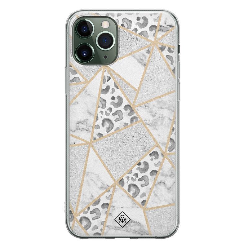 Casimoda iPhone 11 Pro Max siliconen telefoonhoesje - Stone & leopard print