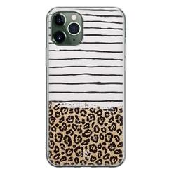 Casimoda iPhone 11 Pro Max siliconen hoesje - Leopard lines