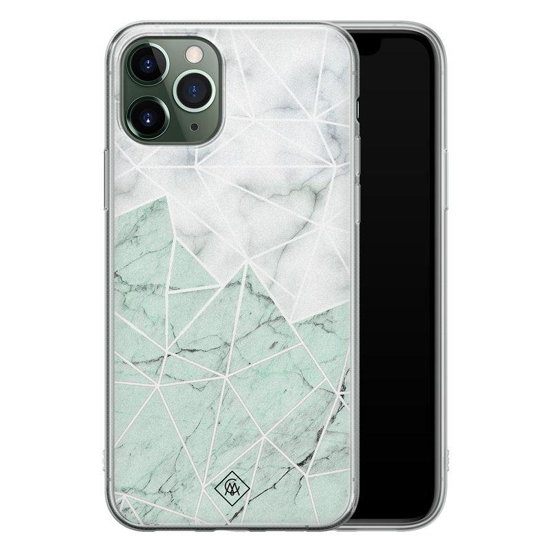 Casimoda iPhone 11 Pro Max siliconen telefoonhoesje - Marmer mint mix