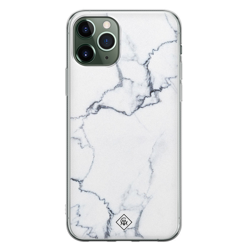 Casimoda iPhone 11 Pro Max siliconen hoesje - Marmer grijs