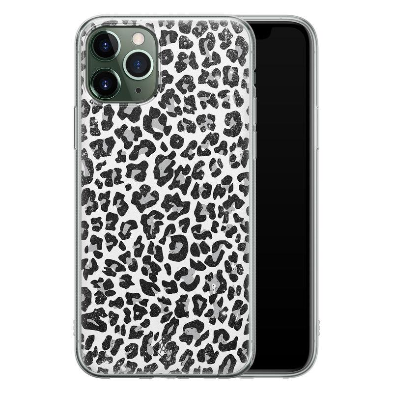 Casimoda iPhone 11 Pro Max siliconen telefoonhoesje - Luipaard grijs