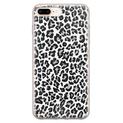 Casimoda iPhone 8 Plus/7 Plus siliconen hoesje - Luipaard grijs