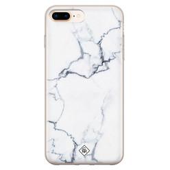Casimoda iPhone 8 Plus/7 Plus siliconen hoesje - Marmer grijs