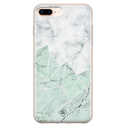 Casimoda iPhone 8 Plus/7 Plus siliconen hoesje - Marmer mint mix