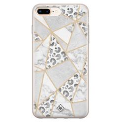 Casimoda iPhone 8 Plus/7 Plus siliconen hoesje - Stone & leopard print