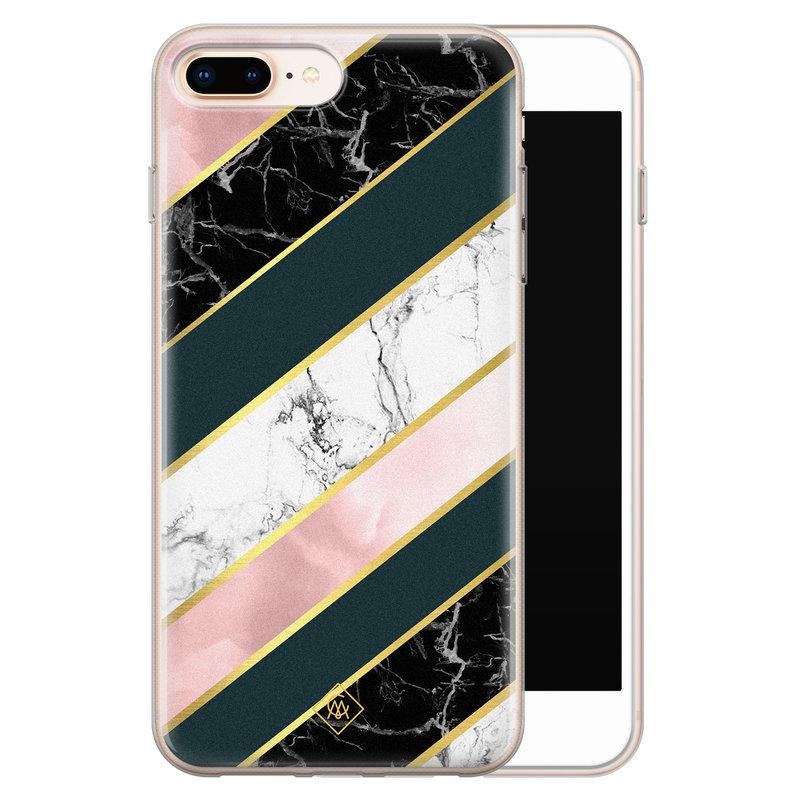 Casimoda iPhone 8 Plus/7 Plus siliconen hoesje - Marble stripes