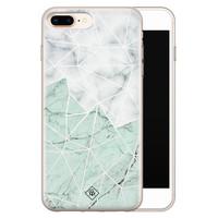 Casimoda iPhone 8 Plus/7 Plus siliconen telefoonhoesje - Marmer mint mix