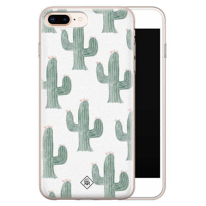 Casimoda iPhone 8 Plus/7 Plus siliconen telefoonhoesje - Cactus print
