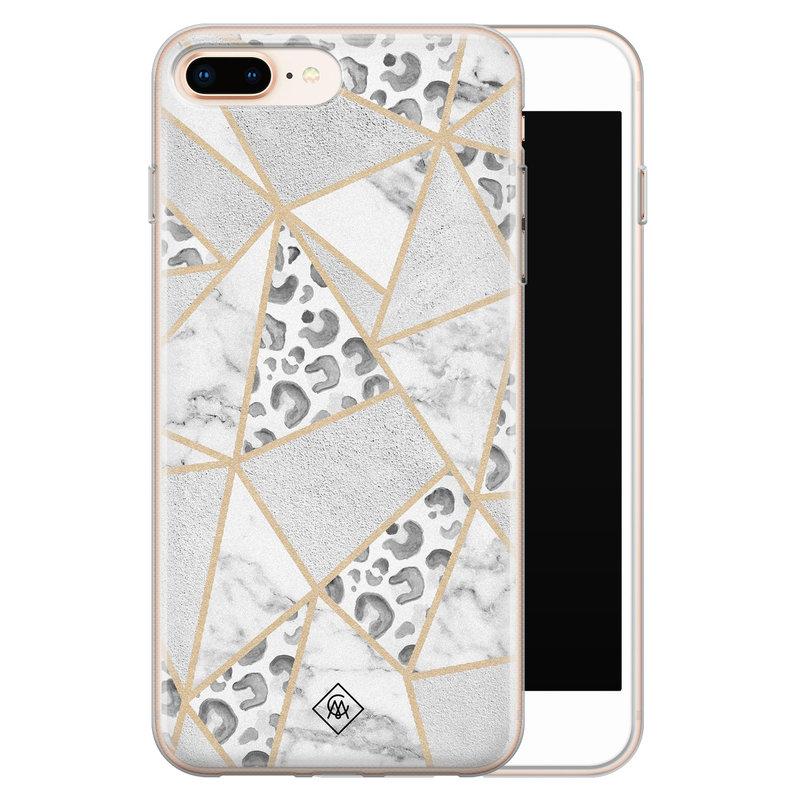 Casimoda iPhone 8 Plus/7 Plus siliconen telefoonhoesje - Stone & leopard print
