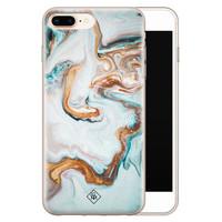 Casimoda iPhone 8 Plus/7 Plus siliconen hoesje - Marmer blauw goud