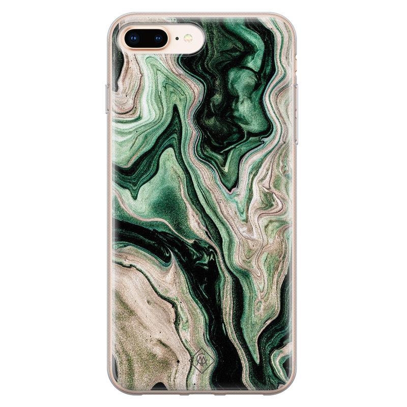 Casimoda iPhone 8 Plus/7 Plus siliconen hoesje - Green waves