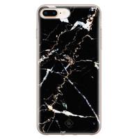 Casimoda iPhone 8 Plus/7 Plus siliconen hoesje - Marmer zwart